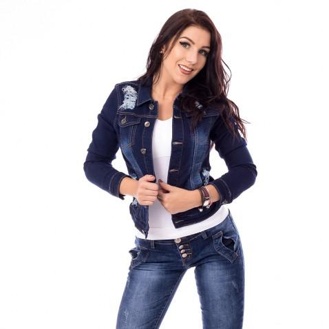 Dámská jeans bunda s trháním - tmavě modrá