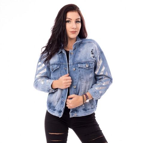 Dámská jeans bunda Love - světle modrá