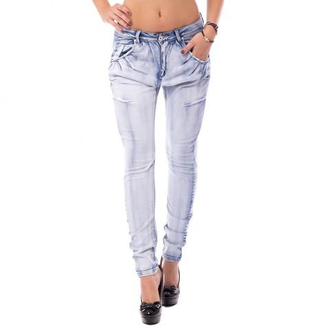 Dámské světlemodré jeans s nabíráním