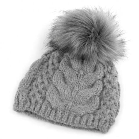 Zimní pletená čepice s bambulí - šedá