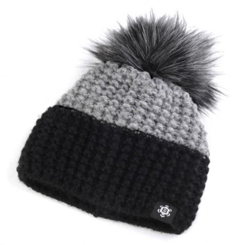 Zimní pletená čepice s bambulí - černošedá
