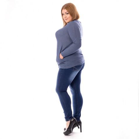 Dámské jeans tmavě modré se zirkony