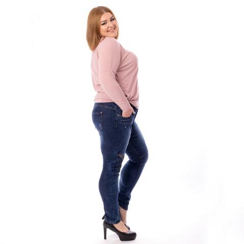 XXL Dámské jeans tmavě modré - Knee