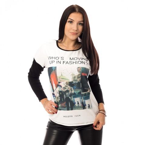Šedobílá mikina Fashion