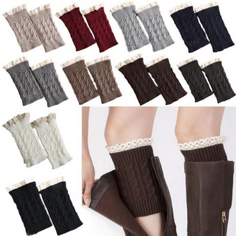 Pletené návleky na nohy s krajkou - 18 cm