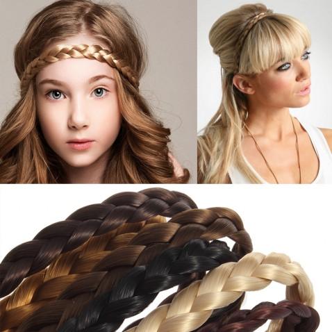 Čelenka do vlasů - pletený cop elastická