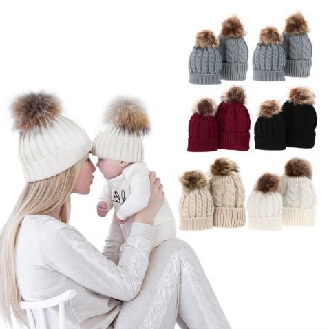 Zimní čepice pro maminku a miminko