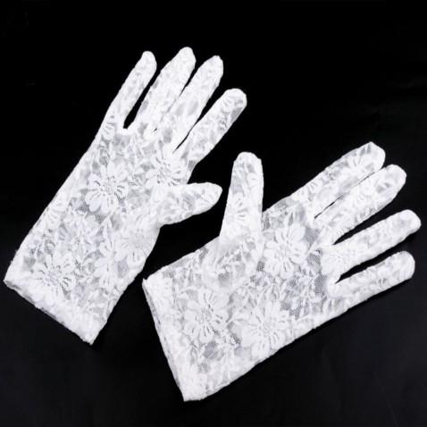 Společenské rukavice 21 cm krajkové