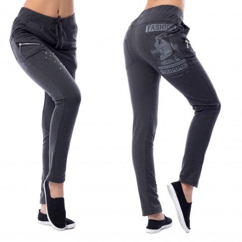 Dámské teplákové kalhoty Fashion - tmavě šedé
