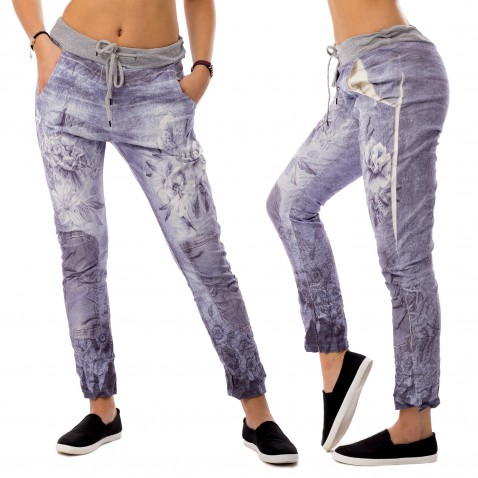 Dámské plátěné baggy jeans Flowers