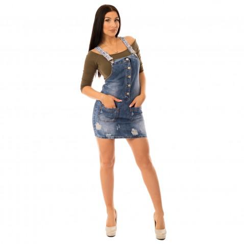 Dámské jeans šaty s laclem
