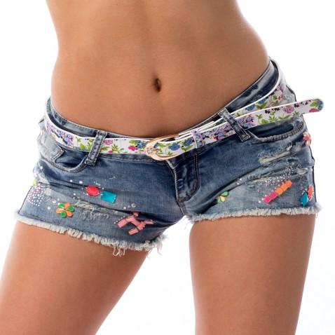 Dámské jeans kraťasy zdobené kamínky a trháním