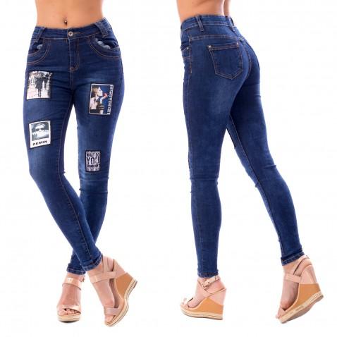 Dámské jeans s nášivkami - Fashion