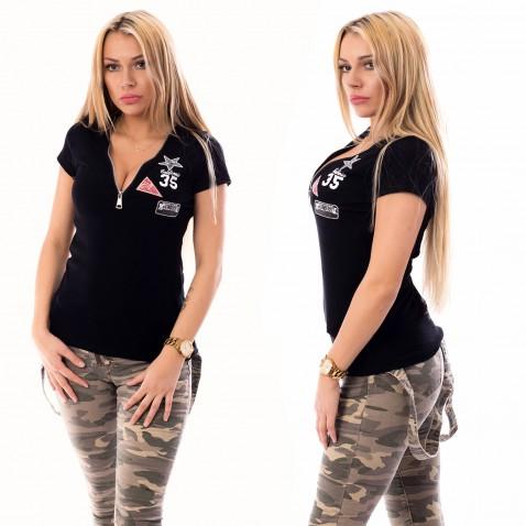 Dámské triko se zipovým výstřihem - černé