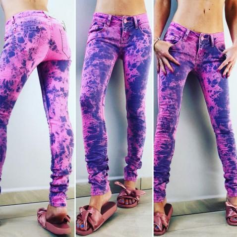 Dámské neon jeans - růžové