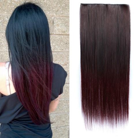 Clip in vlasy - rovný pás - ombre - odstín Black T 99J