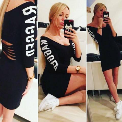 Dámské elastické šaty RAGGED - černé