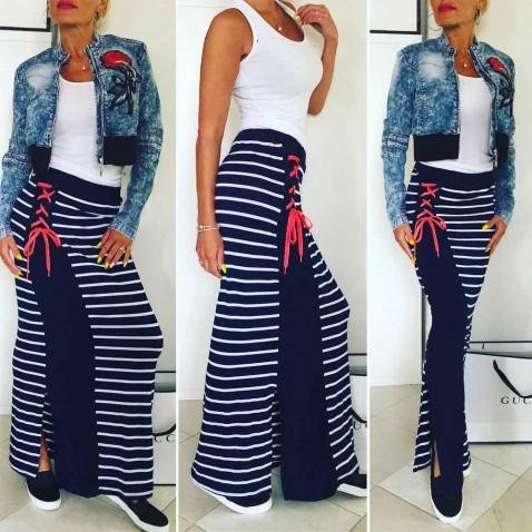 Dámská pruhovaná sukně - Navy Rose