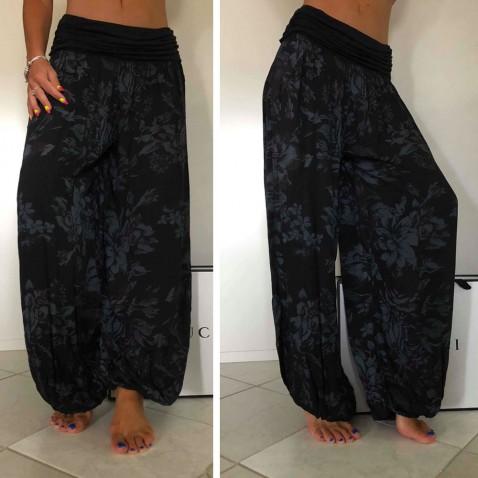 Dámské harémové kalhoty - sultánky černé s květy