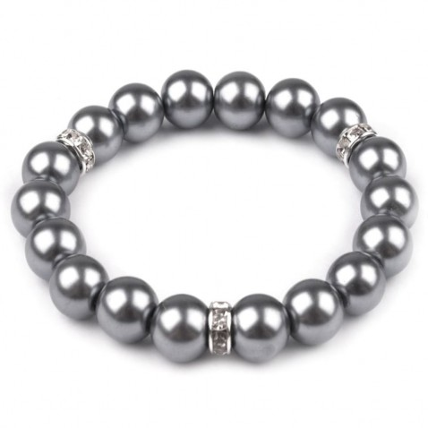 Pružný náramek z perel - šedá perleť