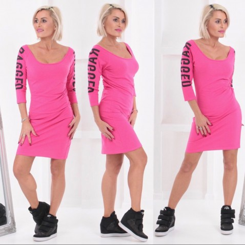 Dámské elastické šaty RAGGED - růžové