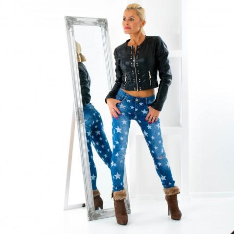 Dámské jeans s hvězdami a trháním na kolenou