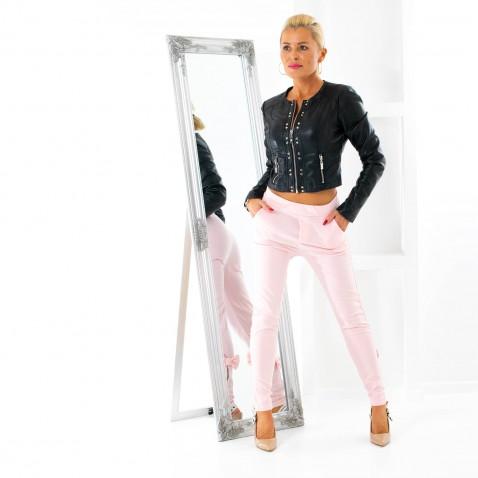 Dámské legínové kalhoty se zipem a mašlí - růžové