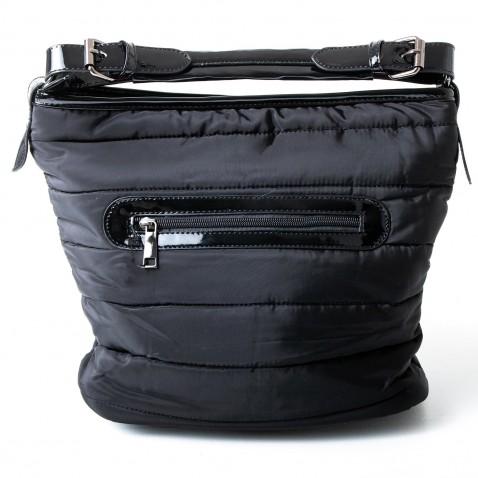 Šusťáková kabelka s latexovými doplňky - černá
