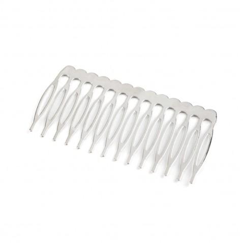 Hřeben do vlasů kovový 40 x 75 mm - platina