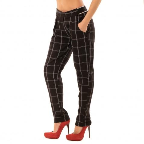 Elegantní kárované kalhoty s lemem