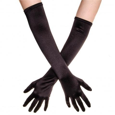 Společenské saténové rukavice 45 cm - černé