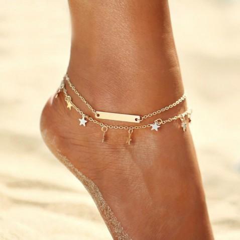 Dvojitý náramek na nohu Star