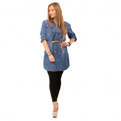 Košilová jeans tunika k legínám - modrá