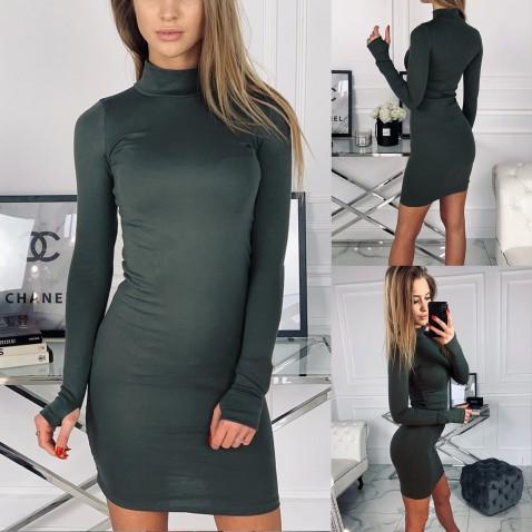 Dámské elastické šaty Golf - khaki