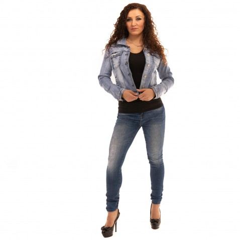 Jeans bunda s perličkami