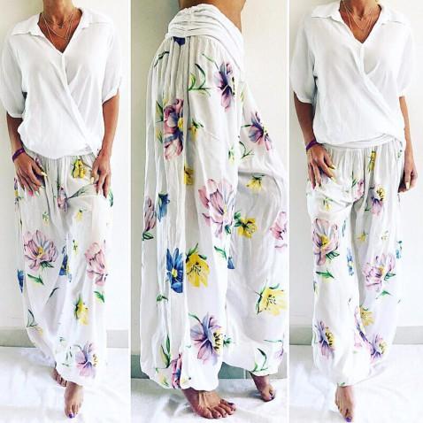 Dámské harémové kalhoty - sultánky bílé s květy