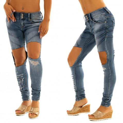 Jeans s aplikací a trháním