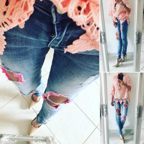 Slim jeans s krajkou - Pinky