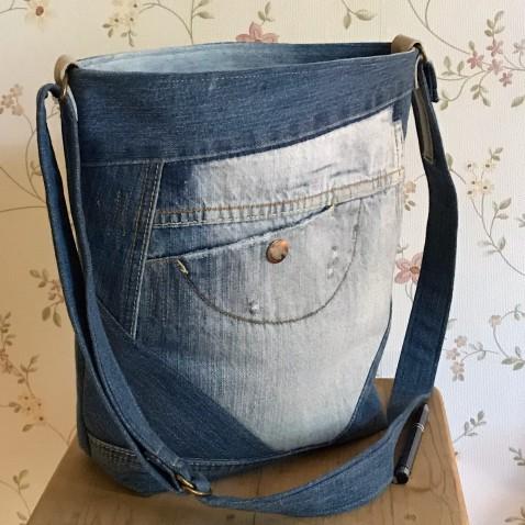 Džínová taška s kapsou
