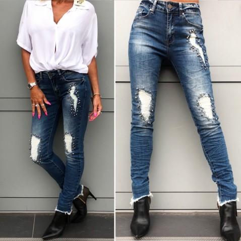 Tmavě modré jeans s perličkvou aplikací