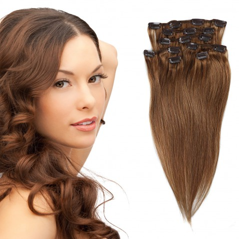 Clip in vlasy 51 cm lidské – Remy 70 g - odstín 8