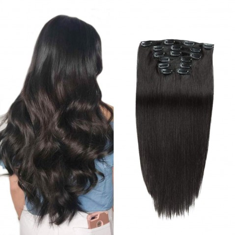 Clip in vlasy 55 cm lidské – Remy 70 g - odstín 1B