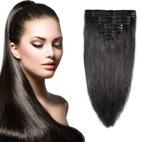 Clip in vlasy 51 cm lidské – Remy 100 g - odstín 1B