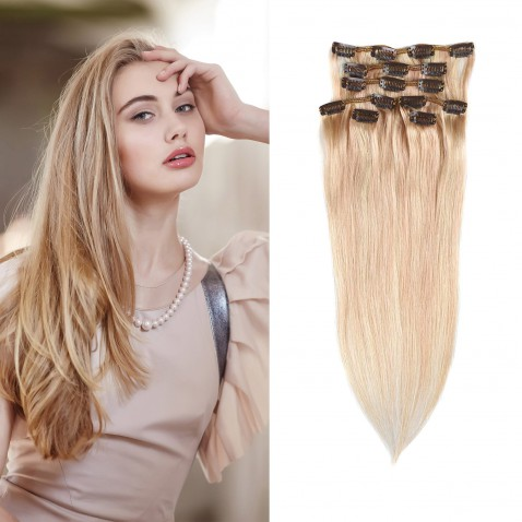 Clip in vlasy 51 cm lidské – Remy 100 g - odstín 27/613