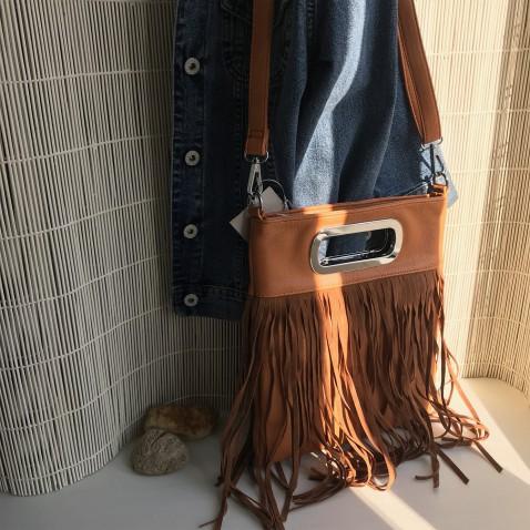 Módní crossbody kabelka s třásněmi - FOX