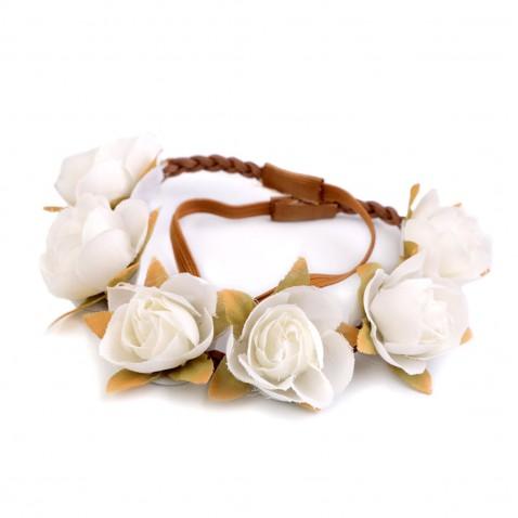 Pružná čelenka s květy - bílá
