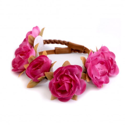 Pružná čelenka s květy - růžová