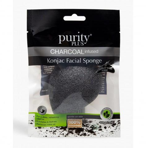 Purity Plus Charcoal odličovací houbička Konjac s aktivním uhlím