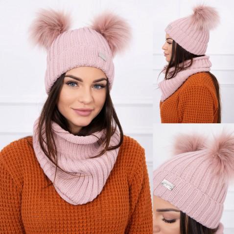 Dámská sada čepice a nákrčníku - Pink