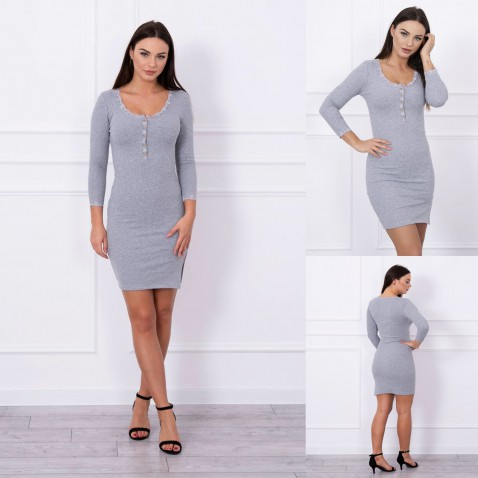 Dámské elastické šaty s krajkou - Gray